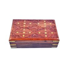 Beautifully crafted Wooden Jewellery Box with Sulfi design hand carving and Brass inlay work, regular