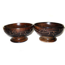 Hand Carved flower design Wooden Snacks Server Bowls, regular