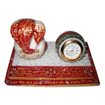 Marvellous Marble Ganesha Chowki with Marble Watch, regular