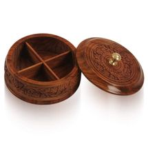 Handcarved Wooden Round Dry Fruit box, regular
