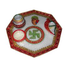 Mavellous Marble Octagan shape Ganesha design Pooja Thali with Diya, Chopra and Mataki, regular