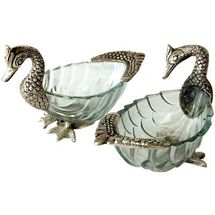Glass and White Metal Duck Shape Fruit Bowls - Set of Two, regular