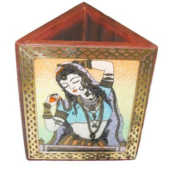 Handcrafted Gemstone and Wooden Triangular Pen Stand with Beautiful Painting, regular