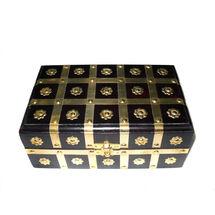 Antique Brass Striped Inlay work wooden Jewellery Box, regular