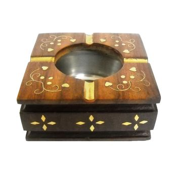 Sheesham wood with brass Inlay Work Decorative Wooden Ashtray, regular