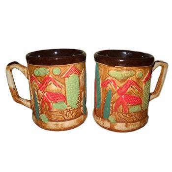 Beautiful Hut design Matte Finish Tea/Coffee Mug - Set of 2, regular