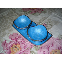 Snacks Serving 2 Bowl and tray Set - Blue, regular