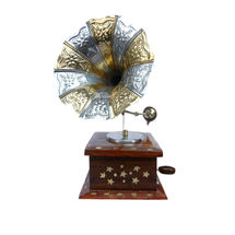 Mini Model Wooden Gramophone with Brass Inlay work, regular