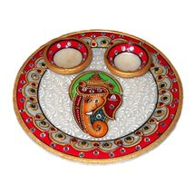 Marvellous Marble round Pooja and Tilak Thali with two diyas, regular