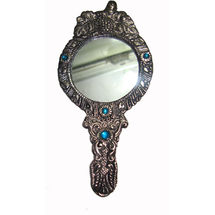 White Metal and Glass Hand mirror - Round Shape, regular