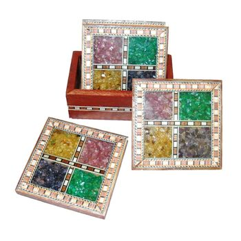 Beautifully handcrafted Gemstone and Wooden Coasters Set, regular