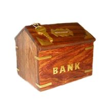 Beautifully handcrafted Hut Shape Wooden Coin Box, regular