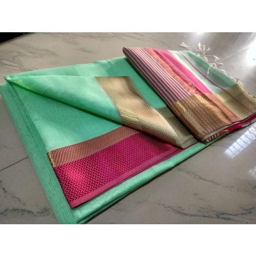 Pure Handloom Maheshwari Saree Directly from Weaver 5.5 Metre with 80cm CONTRAST Blouse Piece in running 5