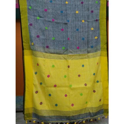Linen By Linen Ball Butta Jamdani Saree 5.5 Metre with 80cm Blouse Piece 6