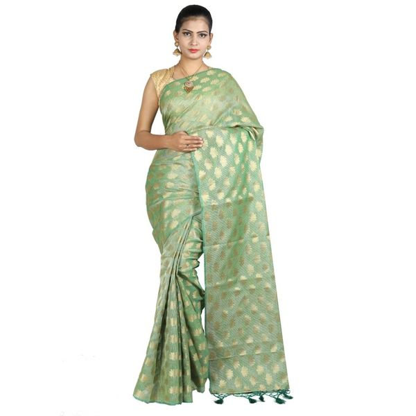 Pure Tissue Cotton Saree with Golden Zari Brocade Blouse 2