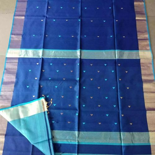 Pure Handloom Maheshwari Saree with Broad Zari Border and Booties Directly from Weaver 5.5 Metre with 80cm CONTRAST Blouse Piece in running 1