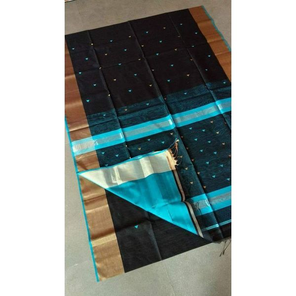 Pure Handloom Maheshwari Saree with Broad Zari Border and Booties Directly from Weaver 5.5 Metre with 80cm CONTRAST Blouse Piece in running 3
