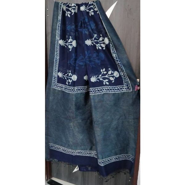 Hand Block Printed Cotton Chanderi Sareewith geecha border 23