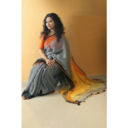 Pure Linen Saree with Contrast Border 3