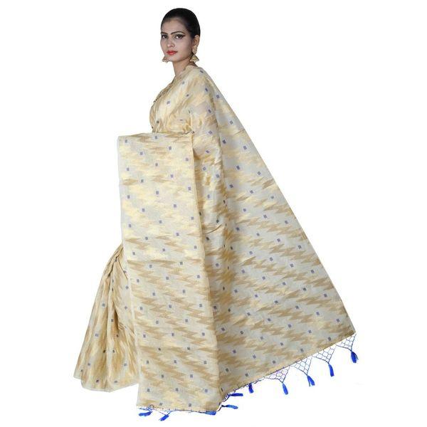 Pure Tissue Cotton Saree with Golden Zari Brocade Blouse 10