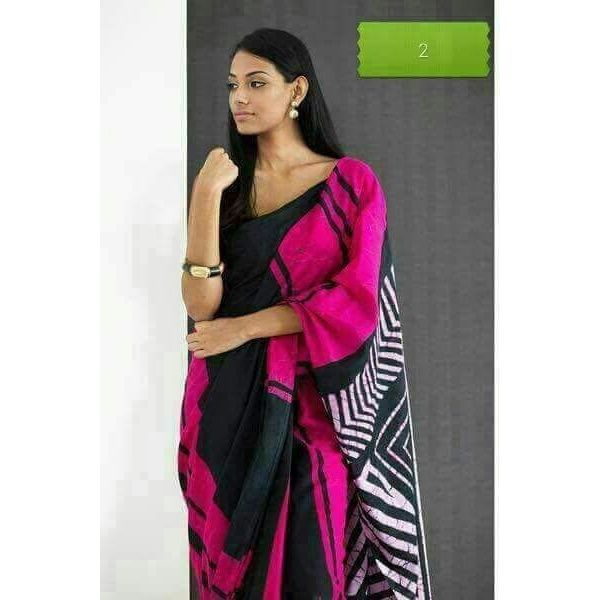 Cotton Mulmul Saree with Hand Batik/ Hand Block Print 6.3 metre length including Blouse Piece 5