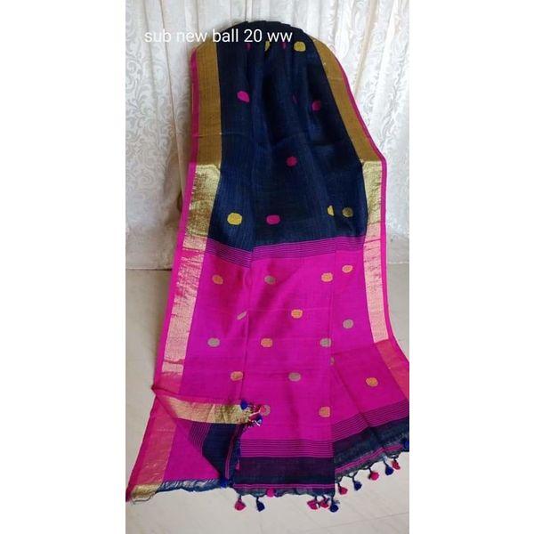 Linen By Linen Ball Butta Jamdani Saree 5.5 Metre with 80cm Blouse Piece 11