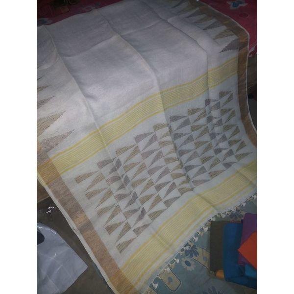Pure Linen Jamdani Saree 7