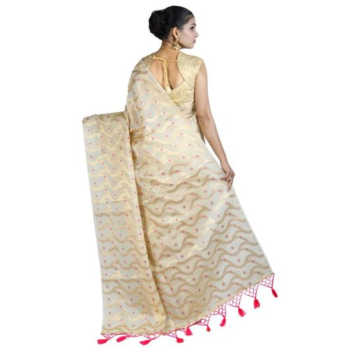 Pure Tissue Cotton Saree with Golden Zari Brocade Blouse 13