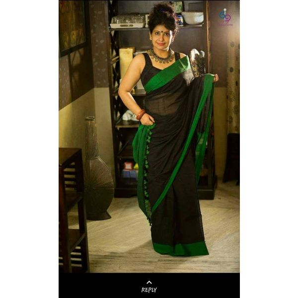 Pure Linen Saree with Contrast Border 10