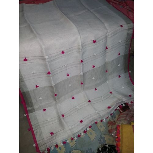 Pure Linen Saree with PomPom Pallu 4