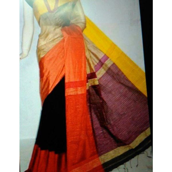 Mahapar Cotton Silk Saree 6.3 metre length with Blouse Piece 2