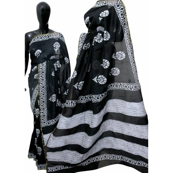 Hand Block Printed Cotton Chanderi Saree 15