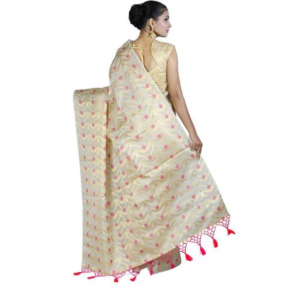 Pure Tissue Cotton Saree with Golden Zari Brocade Blouse 14