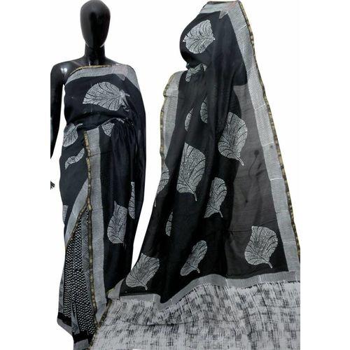 Hand Block Printed Cotton Chanderi Saree 18