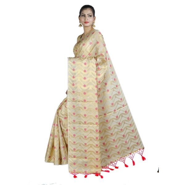 Pure Tissue Cotton Saree with Golden Zari Brocade Blouse 9