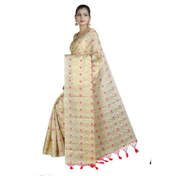 Pure Tissue Cotton Saree with Golden Zari Brocade Blouse 9