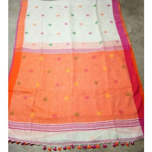 Linen By Linen Ball Butta Jamdani Saree 5.5 Metre with 80cm Blouse Piece 22
