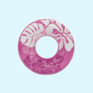 Clear Color Transparent Flower Print Swimming Tube, 91   91 cm,  pink, plastic