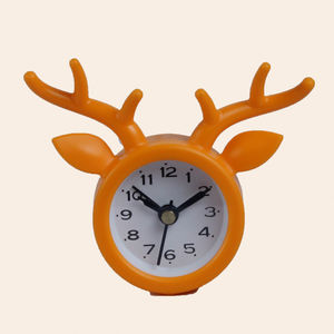 Decorative Deer Shape Table Clock, plastic, 8.3   2.2   7.1 cm,  orange