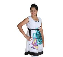 Green Flower Printed Kurti for Women, xl