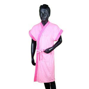 Premium Quality Half Sleeve Soft Terry Cotton Bathrobe-Free Size,  light pink