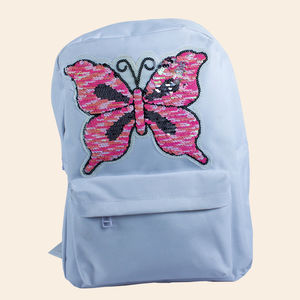 Spike Butterfly Shape Glitter Fashion Casual Floral Travel Backpack, polyster, 33   25   14 cm,  white