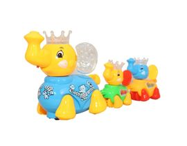 Fab5 Cute Walking Elephant Set( Yellow & Blue, Pack Of 1), yellow blue
