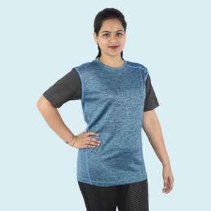 Premium Quality Knitted Light Weight Sports T-Shirt, 90  polyester and 10  spandex,  light sky blue, l