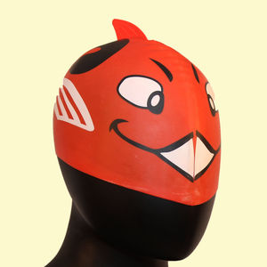 Waterproof Cartoon Dolphin Swimming Cap, rubber, fin shape,  red