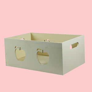 Wooden Square Shape Storage Baskets With Apple Effect Made From Natural Wood, wooden, 27   15   11 cm,  off white
