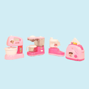 Home Kitchen Set Toys Of 4 Packs (House Hold Set) For Kids, Juicer, Coffee Maker, Water Dispenser and Toaster, plastic, 56   18   8.6 cm,  pink