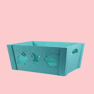 Wooden Square Shape Storage Baskets With Rabit Effect Made From Natural Wood, wooden, set of all 3 size,  light sky blue