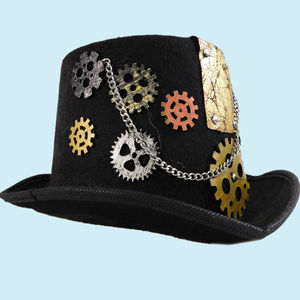 Handmade Retro Punk Unisex Party Hat With Chain, velvet, 32   13   24 cm,  black