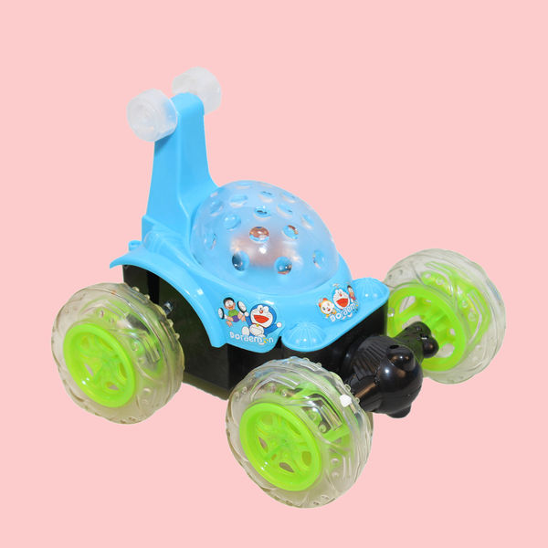 Doraemon 360 Degree Plastic Stunt Car With Remote Control And Rechargeable Battery